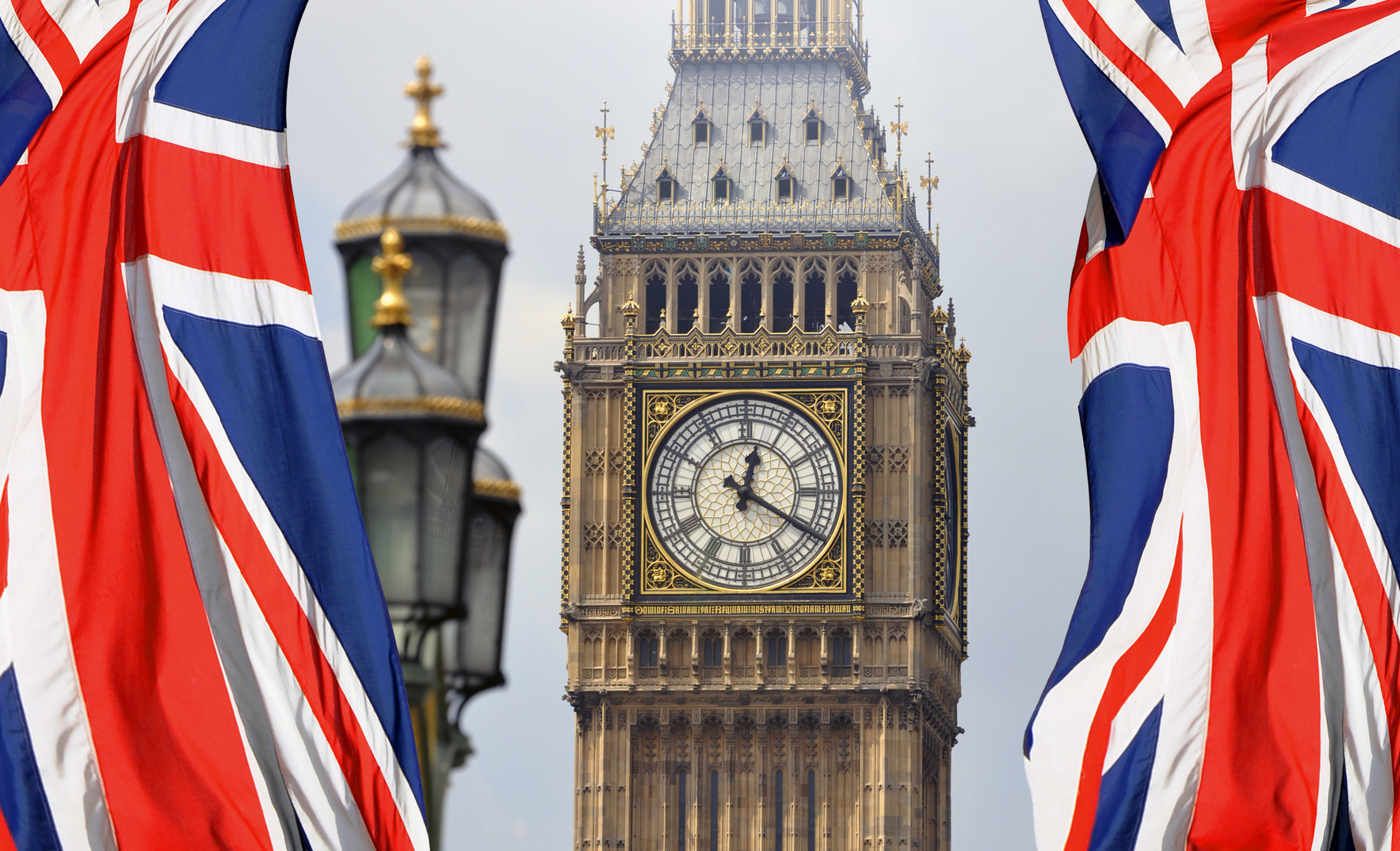 Big Ben in London and English flag